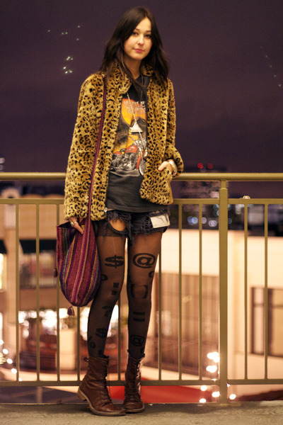 vintage jacket - vintage shirt - black American Apparel tights - Kenneth Cole bo