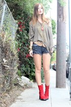vintage shorts - platform vintage boots - off shoulder Cheap Monday sweater