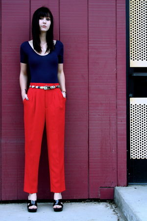 high waist red vintage pants - nine nest shoes