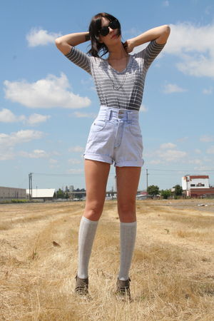 Anthropologie blouse - Target socks - deena and ozzy shoes - vintage shorts