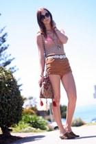 vintage bag - high waist American Apparel shorts - leopard print vintage flats -