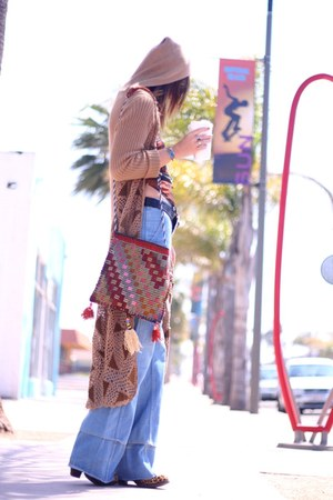 Jeffrey Campbell boots - bell bottom vintage jeans - Urban Outfitters scarf - ho