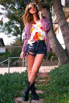 vintage blouse - combat vintage boots - vintage shorts
