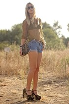 netted Urban Outfitters blouse - vintage shoes - Pendleton bag
