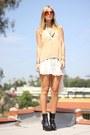 Platform-forever-21-boots-silk-dress-nude-blouse