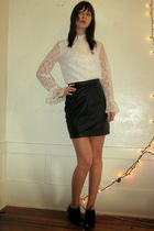 white vintage blouse - vintage skirt - Anthropologie shoes