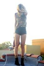 camo vintage shirt - velvet vintage boots - black disco American Apparel shorts