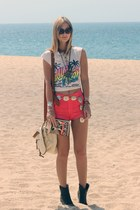 vintage shirt - Urban Outfitters purse - neon pink American Apparel shorts - vin