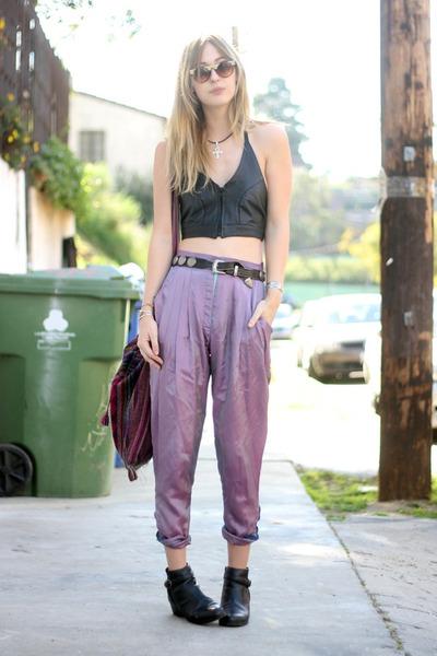 vintage boots - vintage pants - vintage top - ankh Tunnel Vision necklace
