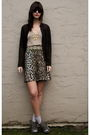 Maxx-studio-cardigan-vintage-belt-anna-sui-skirt-deena-and-ozzy-shoes-an