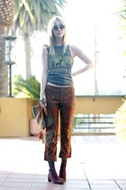 obey top - thrifted DKNY boots - vintage bag - thrifted vintage pants