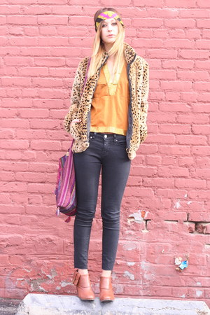 AMERICAN VINTAGE coat - thrifted blouse - Rachel Comey for UO boots