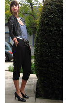 gray vintage jacket - silver American Apparel top - black Anthropologie pants -
