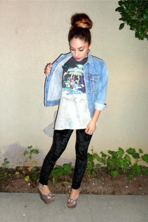 vintage Levis jacket - vintage Velvet leggings - vintage t-shirt