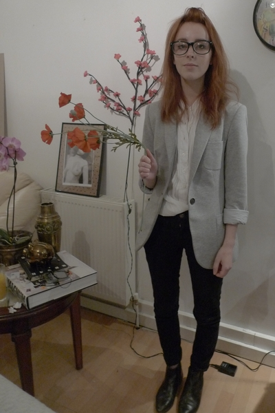 black Topshop jeans - silver Zara blazer - white vintage blouse - black vintage
