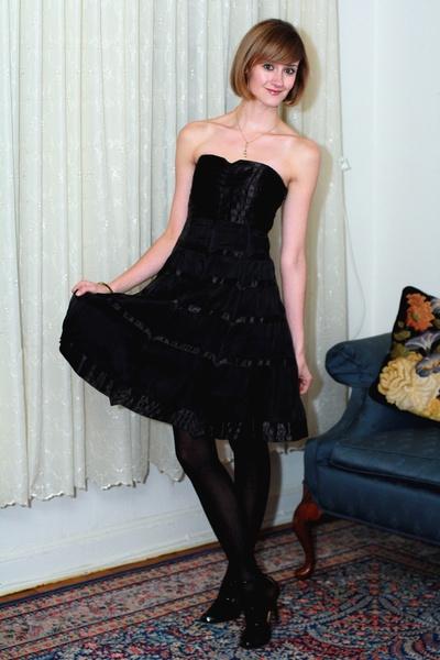 black karen millen dress - white vintage jacket - black Report Signature shoes -