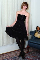 black karen millen dress - white vintage jacket - black Report Signature shoes -