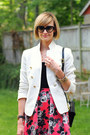 White-fitted-zara-blazer-black-cat-eye-ray-ban-sunglasses