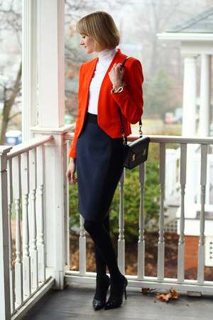 carrot orange structured Zara blazer - black mini Sophie Hulme bag