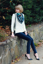 black silk print Square Lust scarf - ivory crochet back romwe sweater