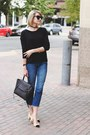 Blue-cropped-topshop-jeans-black-lace-up-express-sweater