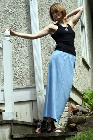 cherry tee top - China necklace - vintage skirt - Sweet Life shoes