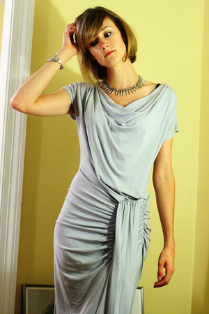 gray foley  corinna dress - silver Neeru Goel necklace - silver vintage bracelet