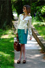 White-the-limited-top-brown-bally-purse-green-vintage-skirt-brown-miu-miu-