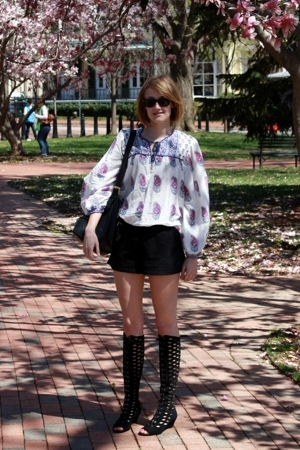 white blouse Angie top - black cut-out Urban Outfitters boots