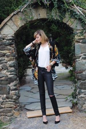 black kimono Pixie Market top - ivory t-shirt StyleMint top