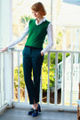 Green-ankle-slit-zara-pants-white-button-down-ann-taylor-shirt