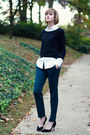 Black-cropped-h-m-sweater-white-button-down-ann-taylor-blouse