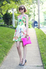 Bubble-gum-floral-zara-dress-hot-pink-clutch-asos-bag