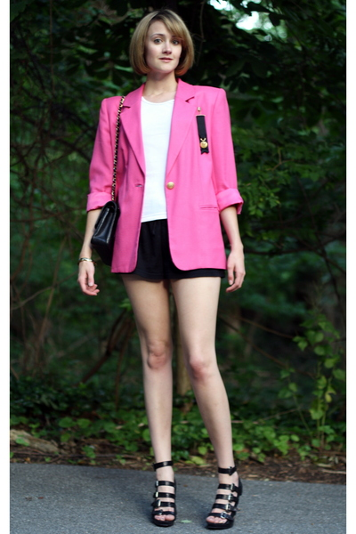 vintage blazer - Old Navy shorts - cherry tee top - forever 21 shoes - vintage a
