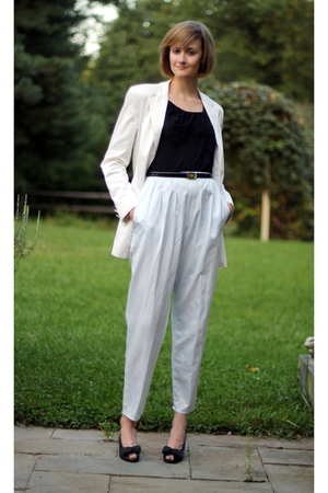 ann taylor blazer - Topshop top - vintage pants - ferragamo belt - ferragamo sho