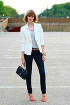 carrot orange studded cesare paciotti sandals - navy skinny jeans H&M jeans