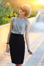 Beige-wrap-top-ann-taylor-blouse-black-quilted-chanel-bag