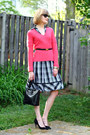Black-plaid-karen-millen-dress-hot-pink-neiman-marcus-sweater