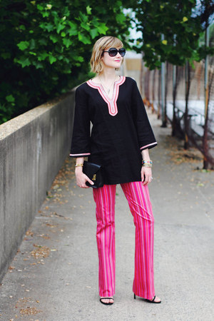 black mini Sophie Hulme bag - hot pink striped Betsey Johnson pants