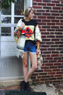 Black-ankle-boots-h-m-boots-blue-denim-shorts-vintage-shorts