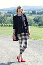 White-plaid-mother-jeans-black-fitted-zara-blazer