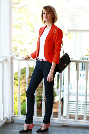 black chain strap Chanel bag - carrot orange bright Zara blazer