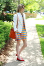 Carrot-orange-striped-thrifted-dress-white-double-breasted-zara-blazer
