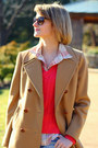 Hot-pink-neiman-marcus-sweater-camel-pea-coat-brooks-brothers-coat