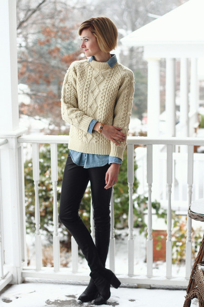 black ankle boots H&M boots - cream fishermans vintage sweater