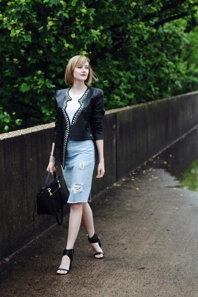 black heels Zara sandals - black leather surface to air jacket