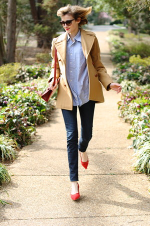 red mini romwe bag - camel Brooks Brothers coat - navy skinny H&amp;M jeans