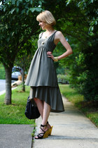 olive green tiered banana republic dress - black studded bag KMRii bag - black g