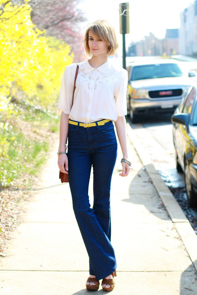 navy J Brand jeans - tawny shoulder bag Louis Vuitton bag - yellow skinny belt a