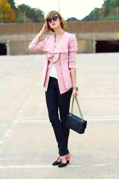 light pink ruffled romwe blazer - black snakeskin H&M jeans